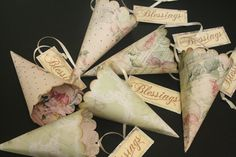 On Reserve for Amy, 5 Wedding Favor Cones, Petal Toss Cones, Candy & Treat Cones, Assorted, French, Shabby Chic, Confetti Cones