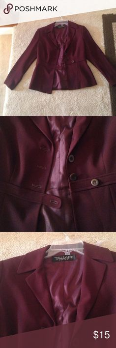 Mulberry Colored Tahari Suit Jacket (Final Sale) This suit jacket is in absolutely perfect condition. It has never been worn. I bought it for myself a while ago, and was going to sew it to make it smaller in order to fit me, but never got around to doing it. It is definitely an eyecatching suit jacket, and would be perfect for the office. * free gift with purchase. Tahari Woman Jackets & Coats Blazers