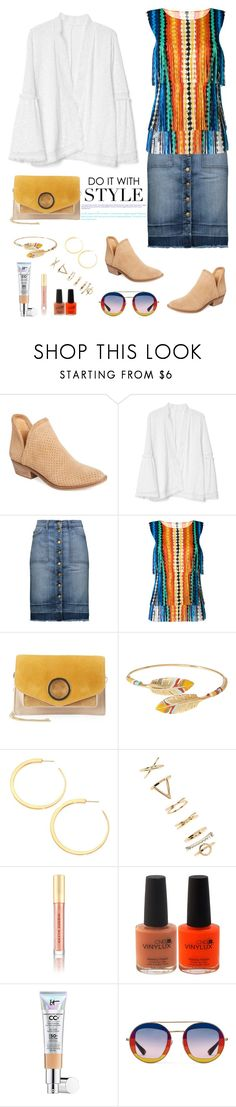 """On the Fringe"" by musicfriend1 on Polyvore featuring Lucky Brand, Gap, Current/Elliott, Pleats Please by Issey Miyake, Halston Heritage, Gas Bijoux, Vita Fede, Forever 21, Kevyn Aucoin and It Cosmetics"