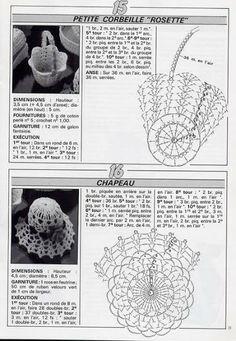 Album Archive - crochet - miniatures et dorures Crochet Diagram, Crochet Chart, Filet Crochet, Crochet Motif, Crochet Doilies, Crochet Flowers, Crochet Stitches, Crochet Patterns, Diy Crochet Basket