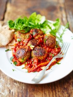 Baked veggie balls in sweet tomato sauce