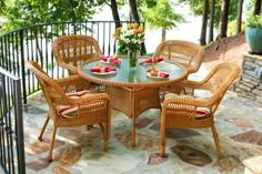 If you host big gatherings or holiday dinners outdoor. you& want to find a table big enough to accomadate everyone. The Portside 48 wicker round dining table from Tortuga Outdoor is perfect for this. Made with all-weather resin wicker. the table. 48 Round Dining Table, Wicker Dining Set, Wicker Chairs, 5 Piece Dining Set, Outdoor Dining Set, Patio Dining, A Table, Outdoor Decor, Dining Sets