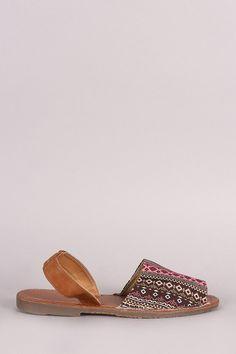 Aztec Print Slingback Flat Sandal