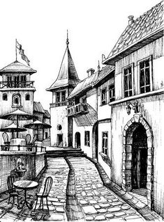 Architecture Drawing Discover Old peaceful city drawing restaurant terrace sketch - Millions of Creative Stock Photos Vectors Videos and Music Files For Your Inspiration and Projects. Pencil Sketches Landscape, Landscape Drawings, Pencil Art Drawings, Cool Art Drawings, Art Drawings Sketches, Drawing With Pencil, Architecture Drawing Sketchbooks, Architecture Concept Drawings, Town Drawing