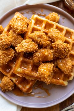Crispy baked chicken nuggets paired with buttermilk waffles and topped with a quick and easy homemade sriracha honey sauce! Baked Chicken And Waffles Recipe, Baked Chicken Nuggets, Crispy Baked Chicken, Chicken Recipes, Easy Waffle Recipe, Waffle Recipes, Brunch Recipes, Buttermilk Waffles, Honey Sauce