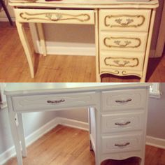 Turned an old desk into my new vanity!