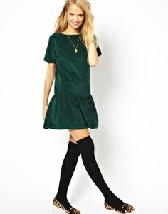 ASOS Cord Dropped Waist Dress in Green