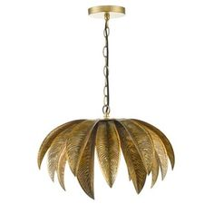 Add an exotic feel to any room with this beautiful 'Cara' ceiling light. Crafted with an intricate palm leaf pendant in a luxe gold tone, it pairs perfectly with a decorative filament effect LED bulb.