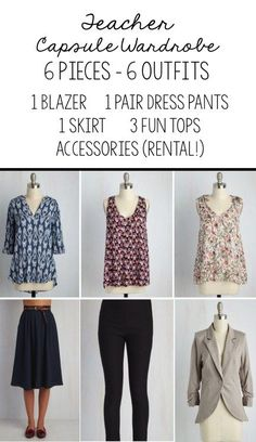 Teacher wardrobe: make a cute capsule wardrobe to wear to class Adrette Outfits, Capsule Outfits, Legging Outfits, Preppy Outfits, Work Outfits, School Outfits, Teacher Wardrobe, Capsule Wardrobe Work, Teacher Clothes