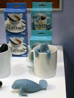 What's that peeking out of your mug? Why it's your very own cuddly Manatea ($10)! #ihhs13 #fredandfriends #tea
