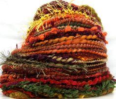 Kitty Grrlz FunctionArt Hand Spun Art Yarn - Autumn Leaves - 72 yards - 4 skeins total available - click here - http://www.etsy.com/shop/kittygrrlz