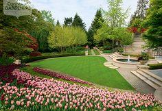Garden tour: Garden fountain filled with spring blooms {PHOTO: Ron Sangha}