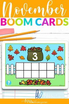 Use these math and literacy digital boom cards in your classroom to keep students engaged. Practice sight words, cvc words, counting and number sense. Use ten frames with cute fall images. Self checking and easy to assign. Number Sense Activities, Hands On Activities, Home Learning, Fun Learning, Miss Kindergarten, Fall Images, Daily Math, Ten Frames, Student Motivation