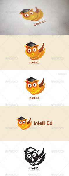 Intelli Ed: Animal Logo Design Template by vecras. Logo Design Template, Logo Templates, Teacher Logo, Professor, Owl Logo, Logo Shapes, Portfolio Logo, Bird Logos, Wings Logo
