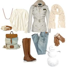 """""""Baby it's cold outside!"""" by gracehands on Polyvore Cream sweater, winter coat, backpack, brown leather boots, leather gloves, winter time, leather necklace and bracelet, cream crochet scarf"""