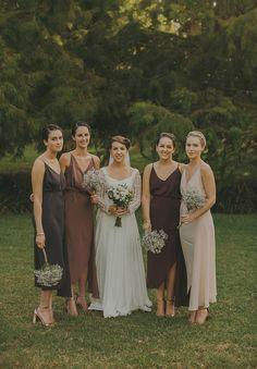 brown & neutral bridesmaids, simple elegant rustic wedding look with baby's breath bouquets