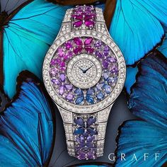 Rainbow Butterfly A signature style for ladies from Graff Luxury Watches, the Graff Rainbow Butterfly watch comprises a highly sculptural arrangement of dazzling diamonds and multi-coloured sapphires.