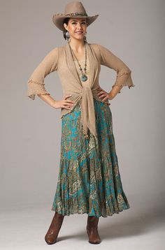 Broomstick Turquoise Multi Skirt: Western Wear | Women Western Clothing | Western Apparel Clothing