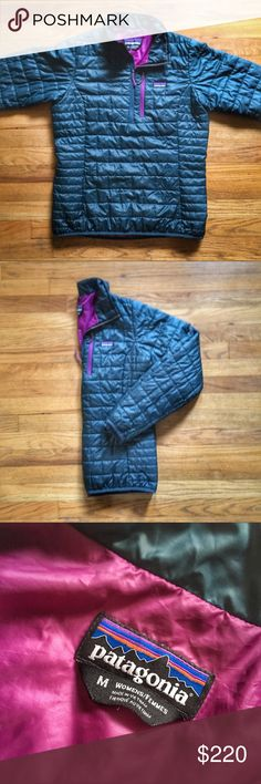 Patagonia Nano Puff Pullover Jacket PRICE IS FIRM - OFFERS NOT ACCEPTED  Patagonia Nano Puff Pullover Jacket.  Size medium.  Pre-owned in excellent condition.  Colors are a bluish-green and purple Patagonia Jackets & Coats Puffers
