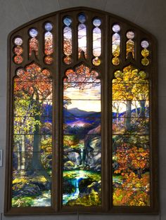 https://flic.kr/p/73kqGy | Autumn Landscape | Louis Tiffany window in the Metropolitan Museum of New York.  Created  1923-4.