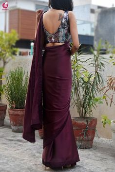 Buy Wine Satin Saree Online in India Saree Wearing Styles, Saree Styles, Fancy Blouse Designs, Sari Blouse Designs, Blouse Patterns, Sarees For Girls, Saree Dress, Saree Blouse, Sleeveless Blouse