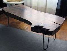 "Black Walnut Slab Table 1.0 46.5"" long, 22.5"" deep, 15.5"" high, and 3.5"" thick"