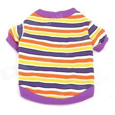 Horizontal Stripes Pattern Pet's Dog Cotton T-Shirt - Purple + Orange (Size S)