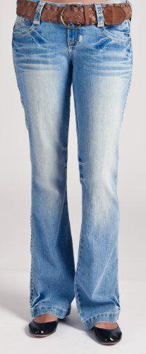 Wallflower Junior Plus Size 5 Pocket Flare Jeans with Heavy Stitch Detail in Light Denim