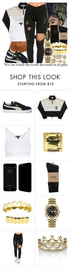 """Her mind is on a different level"" by babygirl-10 ❤ liked on Polyvore featuring Puma, Reebok, Topshop, HUF, Rolex and Erica Courtney"