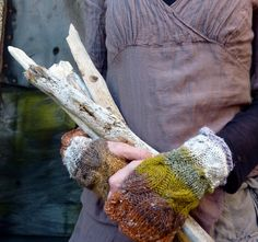 Earth Warmers hand knitted soft fingerless cable by InnerWild, $49.00
