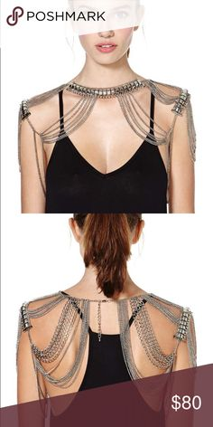Nasty gal Shoulder chain silver shoulder chain featuring thin draped links connected to neck and shoulder. Lobster clasp closures, adjustable. Looks awesome over a dresses tank tops .. I wore one night out Nasty Gal Jewelry
