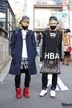 Ryu-P and Shu-P are two DJs who we recently met in Harajuku. Their looks feature fashion from KTZ, Hood by Air, Jeremy Scott, Black Skull, Play Me and Nike! Japanese Streets, Japanese Street Fashion, Tokyo Fashion, Fashion Mode, Harajuku Fashion, Korean Fashion, Fashion Trends, Trendy Fashion, Runway Fashion