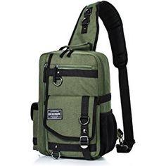 Messenger Bag for Men, Cross Body Shoulder Sling Bag Travel Outdoor Gym Backpack Army green 1 Shoulder Sling, Shoulder Backpack, Men's Backpack, Shoulder Bag, Mens Canvas Messenger Bag, Messenger Bags, Stylish School Bags, Girls Rolling Backpack, Backpack With Wheels