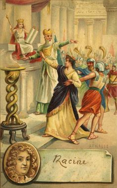 Jean Racine:  scene from play Athalie / Attalia - Joas / Jehoash crowned King of Judah by the high priest Joad / Jehoiada in front of Athalie, his grandmother. Biblical drama - conflict between worshippers of Baal and the God of the Jews. - French dramatist: 22 December 1639 – 21 April 1699.  (Photo by Culture Club/Getty Images)