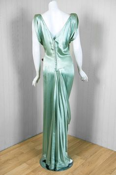 1930's Seafoam Silk-Satin Sequin Draped Grecian Goddess Gown | From a collection of rare vintage evening dresses at http://www.1stdibs.com/fashion/clothing/evening-dresses/