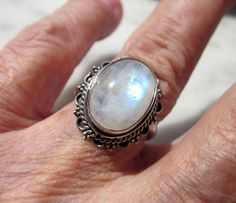 Sterling silver genuine rainbow moonstone by artsandadornments