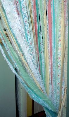 Desperately need to make a fly curtain: DIY fabric scrap fly curtain tutorial. This uses no sewing. Fabric Strip Curtains, String Curtains, No Sew Curtains, Drop Cloth Curtains, Burlap Curtains, Nursery Curtains, Boho Curtains, How To Make Curtains, Rod Pocket Curtains