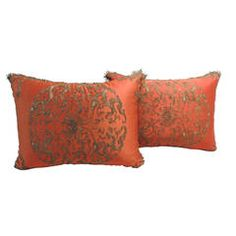 Pair of 19th c. Antique Chinese Silk Embroidery Pillows.