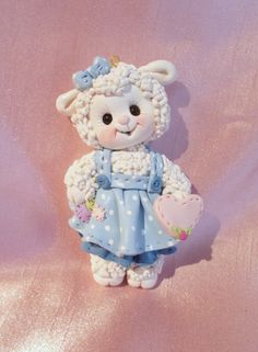 *POLYMER CLAY ~ sheep lamb farm animal Christmas ornament personalized polymer clay gift baby blue.