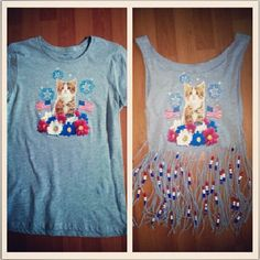 DIY Fringed & Beaded shirt. Getting ready for the July 4th Denver Cruiser ride