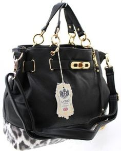 LADIES LARGE FASHION DESIGNER LYDC SOFT FAUX LEATHER WEEKEND SHOULDER HAND BAG BLACK & WHITE: Amazon.co.uk: Shoes & Bags