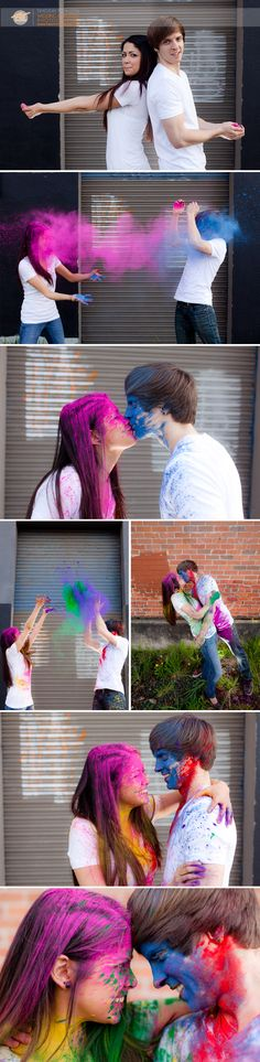 A Colorful and Creative Engagement Session Using Bright Chalk Dust | Eugene, Or
