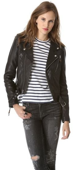 $895, Black Leather Jacket: BLK DNM Leather Jacket 1. Sold by shopbop.com. Click for more info: https://lookastic.com/women/shop_items/34545/redirect