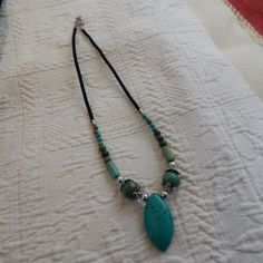Aqua Green turquoise silver beaded choker by TheVelvetMannequin, $15.00
