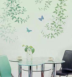 Cutting Edge Stencils - Budding Clematis Stencil. $39.95. See more Flower & Vine Stencils: http://www.cuttingedgestencils.com/stencils-flower-stencil.html >>#flowerstencils #vinestencils