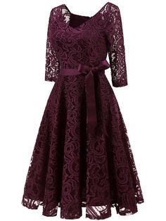 LaceShe Elegant V Neck Sleeve Bridesmaid Lace Dress Gaun Dress, Dress Brukat, Swing Dress, Short Lace Dress, Short Dresses, Lace Maxi, Casual Dresses, Fashion Dresses, Formal Dresses