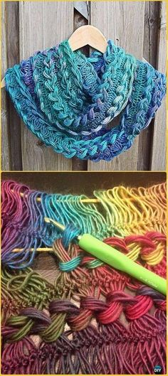 Crochet Braided Hairpin Lace Infinity Scarf Free Pattern - Crochet Infinity Scarf Free Patterns - has inline flowers that pop up Crochet Infinity Scarf Free Pattern, Crochet Lace Scarf, Hairpin Lace Crochet, Bag Crochet, Lace Knitting Patterns, Crochet Scarves, Crochet Crafts, Crochet Stitches, Crochet Projects