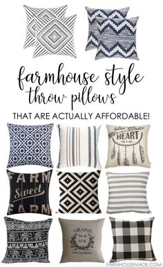 How to get farmhouse style throw pillows on a dime. Ok, maybe a few dimes, but you can get the farmhouse style throw pillows for WAY less than you think!