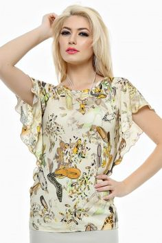 Bluza tricot imprimat cu aripioare lungi.