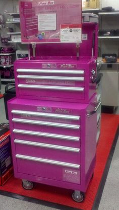 It's a tool box but also works great as a small dresser, organizer and much more! The Original Pink Box. Pink Tool Box, Tools For Women, Small Dresser, Cordless Power Tools, Yard Tools, Woman Cave, Everything Pink, Gadgets And Gizmos, Top Gifts